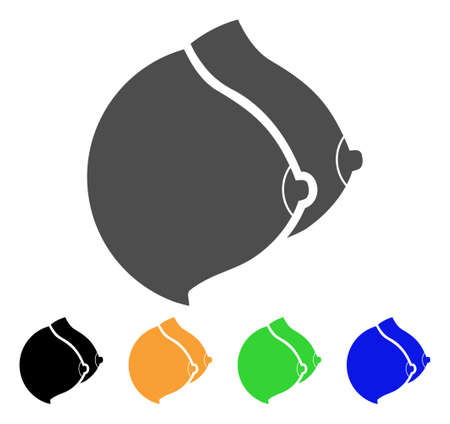 Female Tits icon. Vector illustration style is a flat iconic female tits symbol with black, gray, green, blue, yellow color variants. Designed for web and software interfaces.