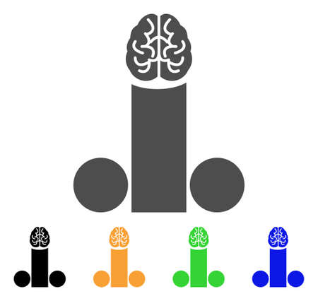 Male Penis Brain icon. Vector illustration style is a flat iconic male penis brain symbol with black, gray, green, blue, yellow color versions. Designed for web and software interfaces. Vector Illustration