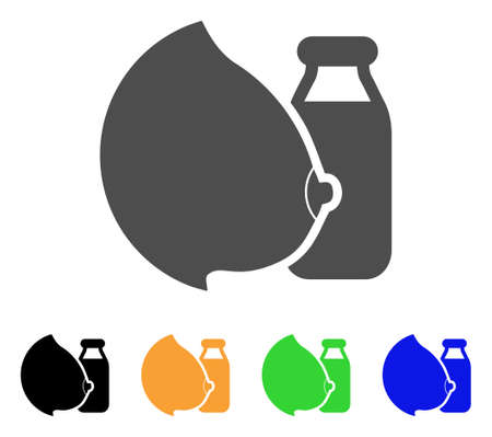 Mother Tit Milk Bottle icon. Vector illustration style is a flat iconic mother tit milk bottle symbol with black, grey, green, blue, yellow color variants. Designed for web and software interfaces.