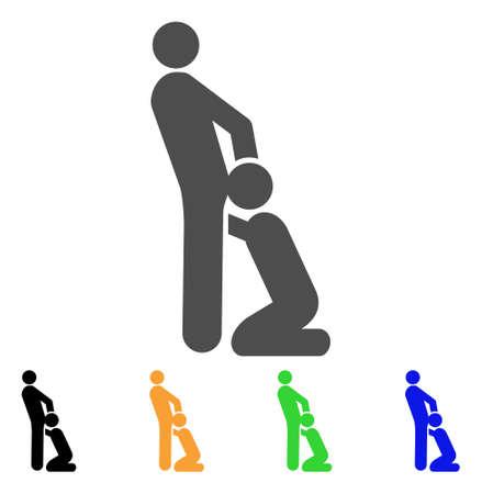 オーラル セックス ゲイのアイコン。ベクトル図のスタイルは、黒、グレー、緑、青、黄色のカラー バリエーションを持つフラット象徴的なオーラ