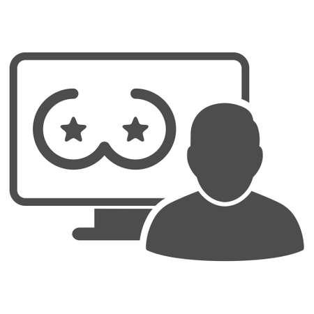 Online Erotics Censored User raster icon. Style is flat graphic grey symbol.
