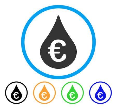 Euro Fuel Drop icon. Illustration