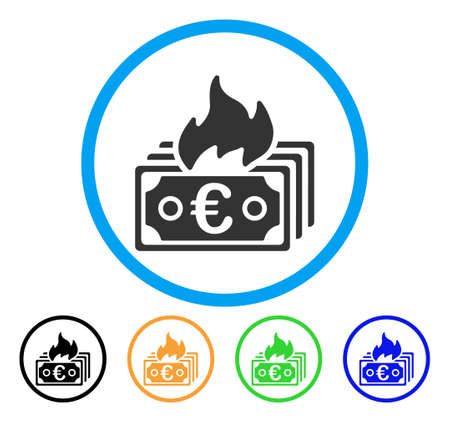 cash: Burn Euro Banknotes icon. Vector illustration style is a flat iconic burn euro banknotes grey rounded symbol inside light blue circle with black, gray, green, blue, red, Illustration