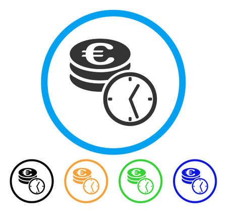 Euro Coins And Time icon. Vector illustration style is a flat iconic Euro coins and time gray rounded symbol inside light blue circle with black, gray, green, blue and red.