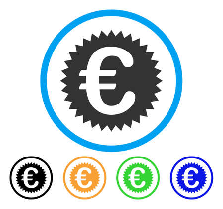 seal of approval: Euro Warranty Stamp icon. Vector illustration style is a flat iconic Euro warranty stamp grey rounded symbol inside light blue circle with black, gray, green, blue, red, orange color versions.