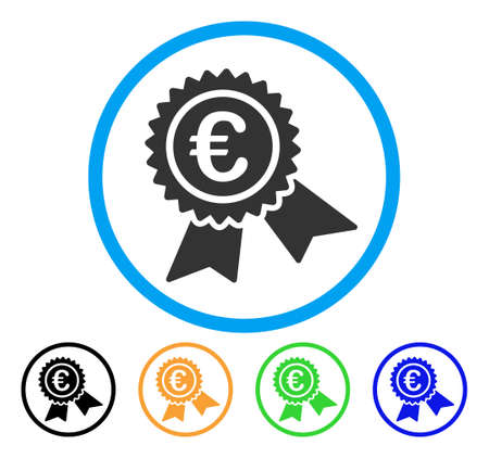 European Guarantee Seal icon. Vector illustration style is a flat iconic European guarantee seal grey rounded symbol inside light blue circle with black, gray, green, blue, red,