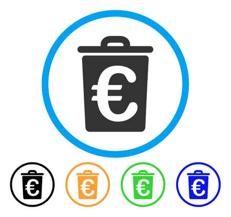 Euro Trash icon. Vector illustration style is a flat iconic euro trash grey rounded symbol inside light blue circle with black, green, blue, yellow color versions. Illustration