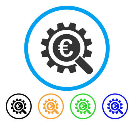 gears: Euro Search Options icon. Vector illustration style is a flat iconic euro search options grey rounded symbol inside light blue circle with black, gray, green, blue, red, orange color versions.