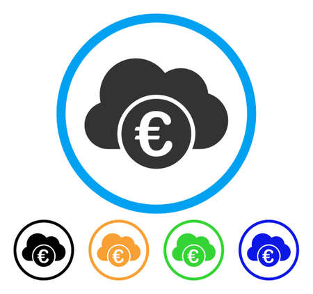 cloud: Euro Cloud Banking icon. Vector illustration style is a flat iconic euro cloud banking gray rounded symbol inside light blue circle with black, gray, green, blue, red, orange color versions.