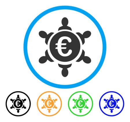 Euro Collaboration icon. Vector illustration style is a flat iconic euro collaboration gray rounded symbol inside light blue circle with black, gray, green, blue, red, orange color variants.