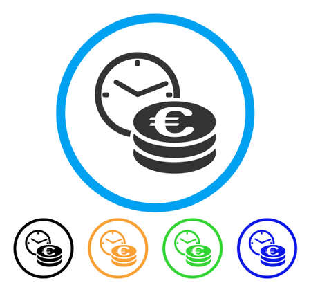 Euro Credit icon. Vector illustration style is a flat iconic euro credit grey rounded symbol inside light blue circle with black, gray, green, blue, red, orange color additional versions.