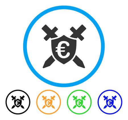 Euro Guard Shield icon. Vector illustration style is a flat iconic euro guard shield gray rounded symbol inside light blue circle with black, gray, green, blue, red, orange color versions. Ilustração
