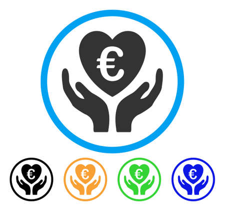 Euro Care Hands icon. Vector illustration style is a flat iconic euro care hands gray rounded symbol inside light blue circle with black, gray, green, blue, red, orange color variants.