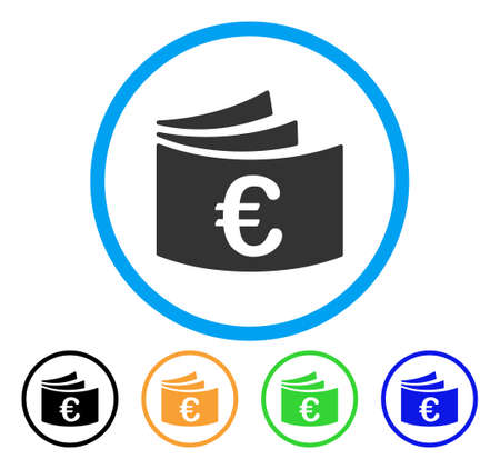 Euro Checkbook icon. Vector illustration style is a flat iconic euro checkbook gray rounded symbol inside light blue circle with black, gray, green, blue, red, orange color additional versions.