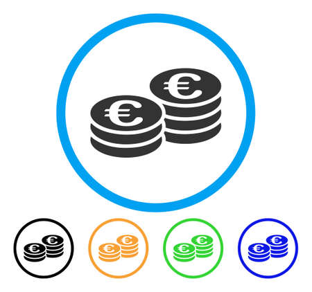 cash: Euro Coin Stacks icon. Vector illustration style is a flat iconic euro coin stacks grey rounded symbol inside light blue circle with black, gray, green, blue, red, orange color versions. Illustration