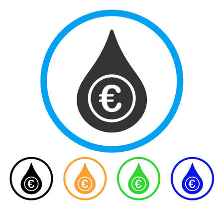 Euro Liquid Drop icon. Vector illustration style is a flat iconic euro liquid drop grey rounded symbol inside light blue circle with black, gray, green, blue, red, orange color versions.