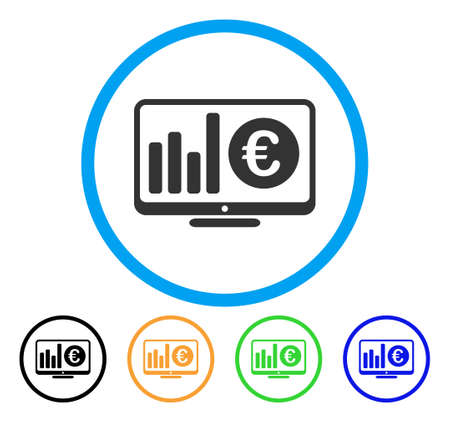 Euro Market Monitoring icon. Vector illustration style is a flat iconic euro market monitoring grey rounded symbol inside light blue circle with black, gray, green, blue, red, orange color versions.