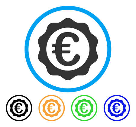 seal of approval: Euro Award Seal icon. Vector illustration style is a flat iconic euro award seal gray rounded symbol inside light blue circle with black, gray, green, blue, red, orange color variants.