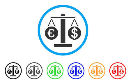 cash: Euro And Dollar Scales rounded icon. Style is a flat Euro and dollar scales grey symbol inside light blue circle with black, gray, green, blue, red, orange color versions.