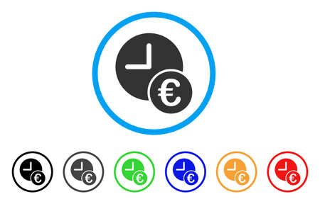 Euro Recurring Payments rounded icon. Style is a flat Euro recurring payments gray symbol inside light blue circle with black, gray, green, blue, red, orange variants. Ilustrace