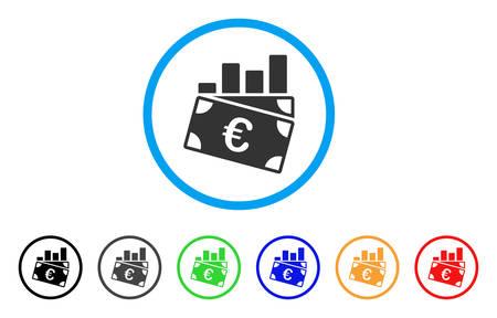 ユーロの売り上げ高のグラフには、アイコンが丸められます。スタイルは、黒、グレー、緑、青、赤、オレンジのバージョンと光の青い円の中フラット ユーロ売り上げグラフ グレー シンボルです。