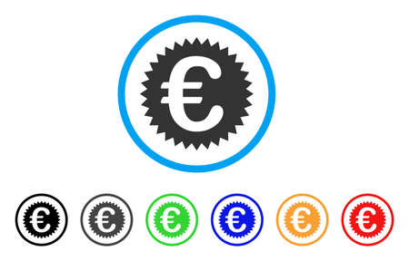 seal of approval: Euro Warranty Stamp rounded icon. Style is a flat Euro warranty stamp gray symbol inside light blue circle with black, gray, green, blue, red, orange variants. Illustration