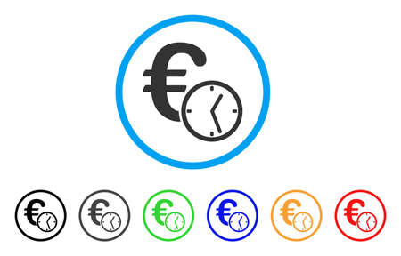 Euro Credit rounded icon. Style is a flat Euro credit gray symbol inside light blue circle with black, gray, green, blue, red, orange color versions. Vector designed for web and software interfaces.