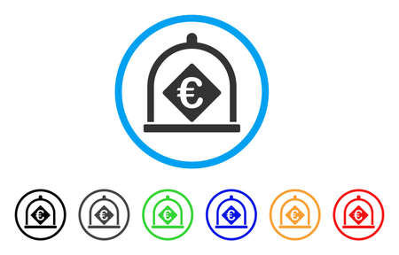 storage: Euro Deposit rounded icon. Style is a flat Euro deposit gray symbol inside light blue circle with black, gray, green, blue, red, orange versions. Vector designed for web and software interfaces.