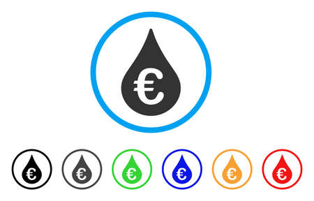 Euro Fuel Drop rounded icon. Style is a flat Euro fuel drop gray symbol inside light blue circle with black, gray, green, blue, red, orange color versions.