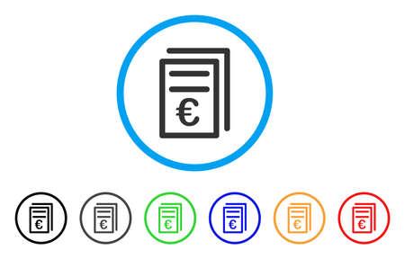 Euro-facturen afgerond pictogram. Stijl is een plat grijs symbool voor eurofacturen in een lichtblauwe cirkel met zwarte, grijze, groene, blauwe, rode en oranje varianten. Vector ontworpen voor web- en software-interfaces.