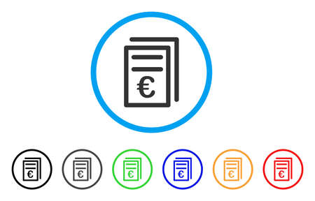 Euro Invoices rounded icon. Style is a flat Euro invoices grey symbol inside light blue circle with black, gray, green, blue, red, orange variants. Vector designed for web and software interfaces.