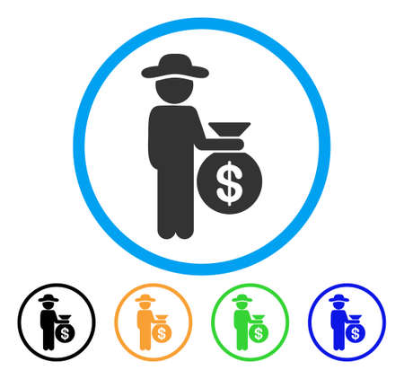 investor: Gentleman Investor icon. Vector illustration style is a flat iconic gentleman investor gray rounded symbol inside light blue circle with black, green, blue, yellow color versions. Illustration