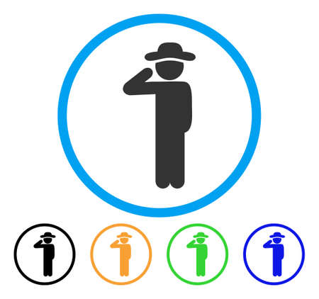 Gentleman Salute icon. Vector illustration style is a flat iconic gentleman salute gray rounded symbol inside light blue circle with black, green, blue, yellow color variants.