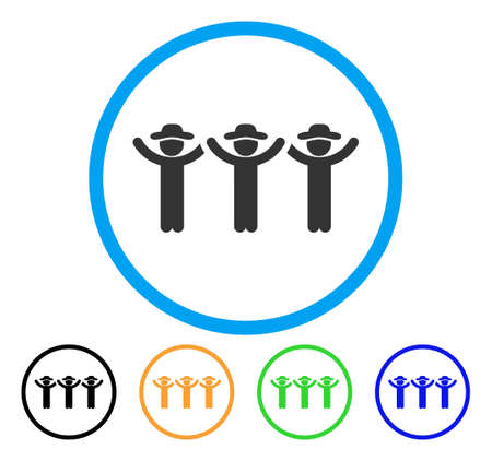 Gentlemen Hands Up Roundelay icon. Vector illustration style is a flat iconic gentlemen hands up roundelay gray rounded symbol inside light blue circle with black, green, blue, yellow color versions.