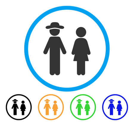 Gentleman And Lady icon. Vector illustration style is a flat iconic gentleman and lady gray rounded symbol inside light blue circle with black, green, blue, yellow color versions.