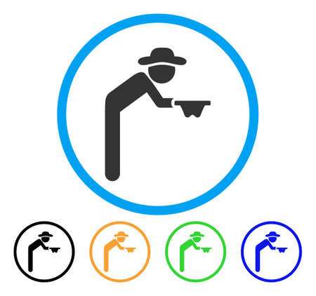 Gentleman Beggar icon. Vector illustration style is a flat iconic gentleman beggar grey rounded symbol inside light blue circle with black, green, blue, yellow color versions.
