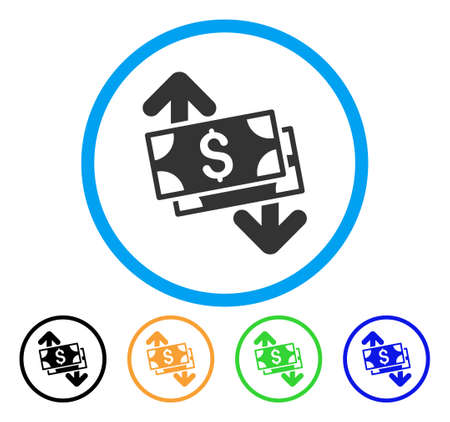 Banknotes Spending icon. Vector illustration style is a flat iconic banknotes spending grey rounded symbol inside light blue circle with black, green, blue, yellow color versions.