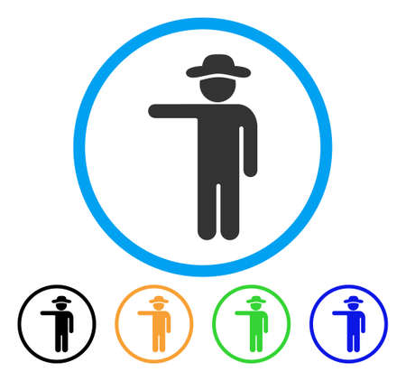 general manager: Gentleman Show icon. Vector illustration style is a flat iconic gentleman show grey rounded symbol inside light blue circle with black, green, blue, yellow color versions.