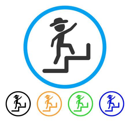 Gentleman Steps Upstairs icône. Style d'illustration vectorielle est un emblème plat emblématique de l'homme à l'étage symbole arrondi gris à l'intérieur du cercle bleu clair avec des variantes de couleur noir, vert, bleu, jaune. Vecteurs