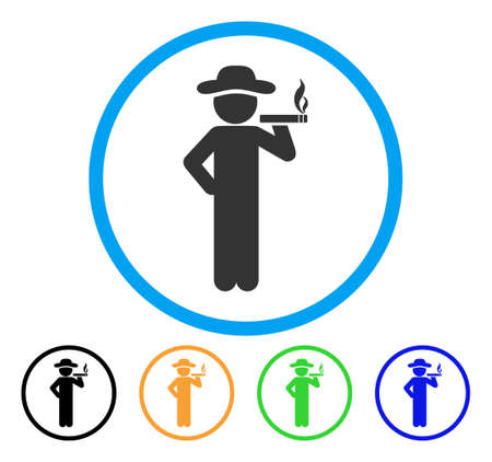 Smoking Gentleman icon. Vector illustration style is a flat iconic smoking gentleman grey rounded symbol inside light blue circle with black, green, blue, yellow color versions. Illustration