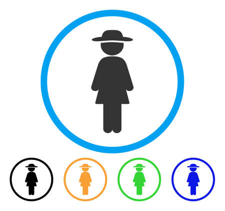 Standing Lady icon. Vector illustration style is a flat iconic standing lady gray rounded symbol inside light blue circle with black, green, blue, yellow color variants.