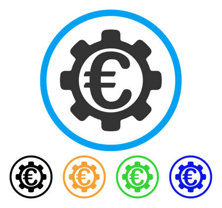 Euro Options icon. Vector illustration style is a flat iconic euro options grey rounded symbol inside light blue circle with black, green, blue, yellow color variants.