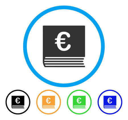 Euro Sales Book icon. Vector illustration style is a flat iconic euro sales book grey rounded symbol inside light blue circle with black, green, blue, yellow color variants.