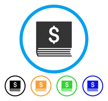 Sales Book icon. Vector illustration style is a flat iconic sales book grey rounded symbol inside light blue circle with black, green, blue, yellow color variants.