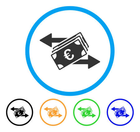 cash: Euro Banknotes Transfers icon. Vector illustration style is a flat iconic euro banknotes transfers gray rounded symbol inside light blue circle with black, green, blue, yellow color variants. Illustration