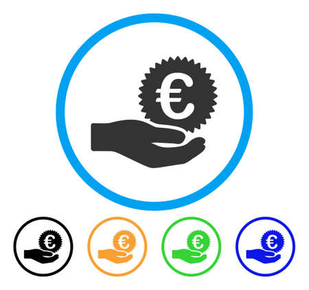 cash: Euro Coin Offer Hand icon. Vector illustration style is a flat iconic euro coin offer hand gray rounded symbol inside light blue circle with black, green, blue, yellow color variants. Illustration