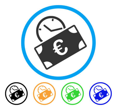 Euro Recurring Payment icon. Vector illustration style is a flat iconic euro recurring payment grey rounded symbol inside light blue circle with black, green, blue, yellow color versions.