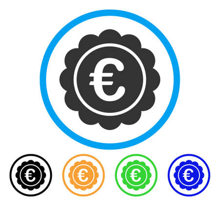 seal of approval: Euro Reward Seal icon. Vector illustration style is a flat iconic euro reward seal grey rounded symbol inside light blue circle with black, green, blue, yellow color variants.