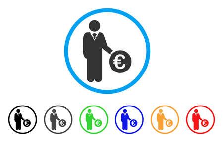 investor: Euro Investor rounded icon Illustration