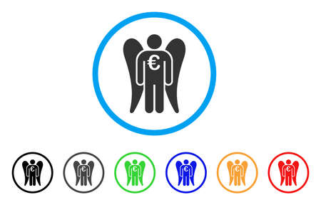 investor: Euro Angel Investor rounded icon. Style is a flat euro angel investor gray symbol inside light blue circle with black, gray, green, blue, red, orange color versions.